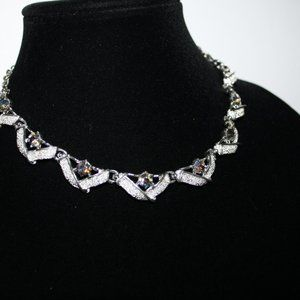 Beautiful vintage silver and AB crystal necklace